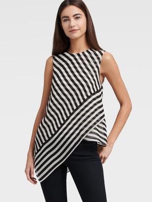 DKNY Sleeveless Stripe Top With Asymmetrical Hem