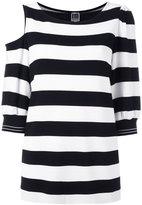 I'M Isola Marras striped cold shoulder top - women - Spandex/Elastane/Viscose/Polyimide - M