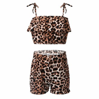 Alvivi Kids Girls Leopard Printed Sports Streetwear Suit Self Tie Shoulder Straps Ruffled Crop Top with Shorts Set Brown 5-6 Years