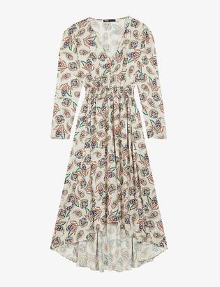 Maje Risleya paisley-print asymmetric-hem satin dress