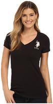 U.S. Polo Assn. Lace Trimmed V-Neck Short Sleeve T-Shirt