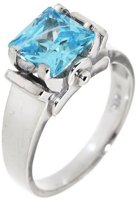 Pinctore Sterling Silver 4.92ctw Iolite /& Aqua Zircon Three-Stone Ring
