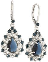 Carolee Silver-Tone Blue and Clear Crystal Teardrop Cluster Drop Earrings