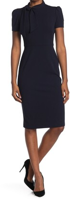 Maggy London Tie Neck Short Sleeve Crepe Sheath Dress
