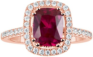 Suzy Levian Rose Gold Plated Sterling Silver Created Ruby CZ Halo Ring