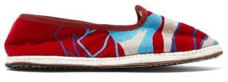 Kilometre Paris - Dolpa District Embroidered-velvet Slippers - Red Multi
