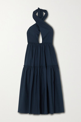 Marios Schwab On The Island By Rainha Cotton-poplin Halterneck Midi Dress - Navy