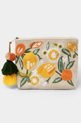 francesca's Hilda Embroidered Citrus Pouch - Yellow