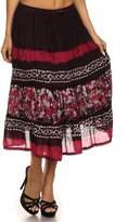 Sakkas 15452 - Layla Adjustable Waist Batik Tiered Mid-length Skirt - OS