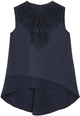 High Radiate navy lace-trimmed satin top