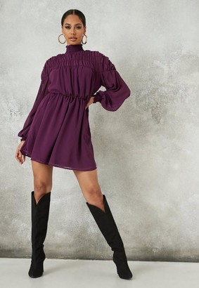 Missguided Plum Shirred Shoulder Skater Dress