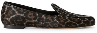 Lafayette 148 New York Gigi Leopard-Print Calf Hair Loafers