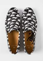 Paul Smith Women's Black 'Danny' Leather Loafers With 'Dancing Cats' Print