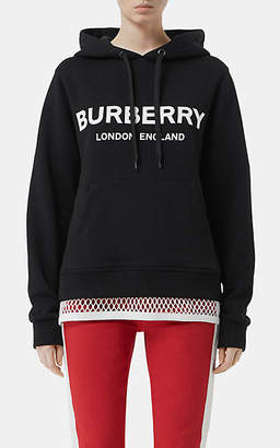 Burberry Women's Logo Cotton Hoodie - Black