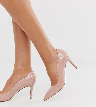 Miss KG wide fit corinthia heeled court shoes in beige