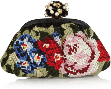 Dolce & Gabbana Miss Dea floral tapestry and leather clutch