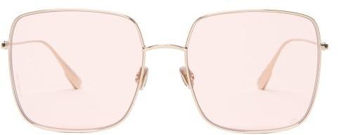 Christian Dior Diorstellaire1 Square Metal Sunglasses - Womens - Light Pink