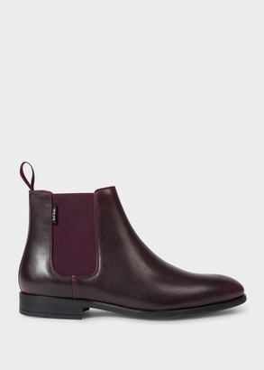 Paul Smith Men's Burgundy Smooth Leather 'Gerald' Chelsea Boots