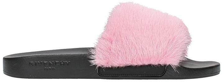 Givenchy Bright Pink Fur Slides