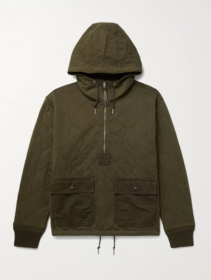 Ralph Lauren RRL Quilted Cotton-Twill Hooded Half-Zip Jacket
