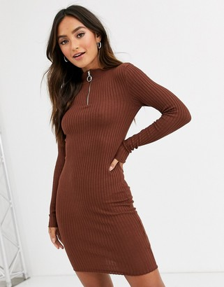 Brave Soul goswell zip pull jumper dress-Brown