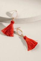 francesca's Rea Teardrop Stone Tassel Earrings - Red