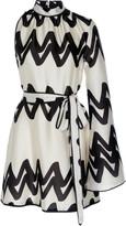 Alexis Elina Asymmetric Two-Tone Printed Satin Mini Dress