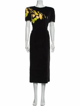 Dries Van Noten Graphic Print Long Dress Black