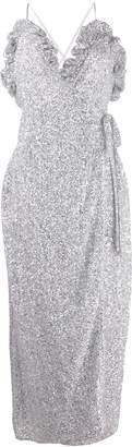 ATTICO sequined wrap-style cocktail dress