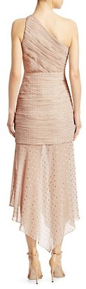Halston One Shoulder Pleated Metallic Polka Dot Trumpet Dress