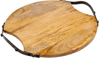 Godinger Round Wood Handled Tray
