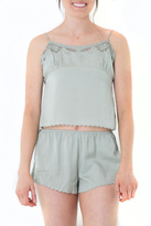 Honey Punch Scalloped Green Camisole Top