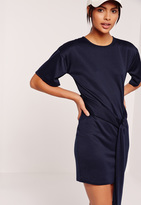 Missguided Tie Front Shift Dress Navy