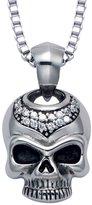 "Wildthings Ltd. Stainless Steel Skull Pendant w/Crystal Stones & 20"" Box Chain"