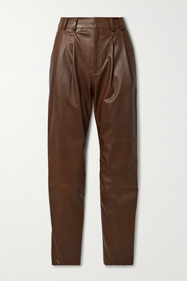 Sprwmn Pleated Leather Tapered Pants - Chocolate