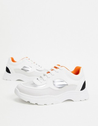 ASOS DESIGN Declare chunky sneakers in white silver and black