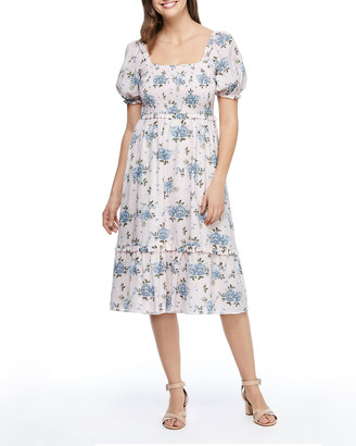 Gal Meets Glam Floral Print Smocked-Bodice Flounce Hem Dress