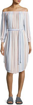 AG Adriano Goldschmied Michelle Off-Shoulder Striped Gauze Dress, Multi