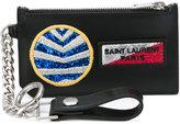 Saint Laurent Paris Fragments multi-patch keyring zip pouch - men - Calf Leather - One Size
