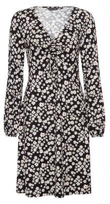 Dorothy Perkins Womens Black Floral Print Ruched Detail Dress, Black