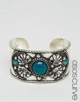 Asos Wide Engraved Stone Cuff Bracelet