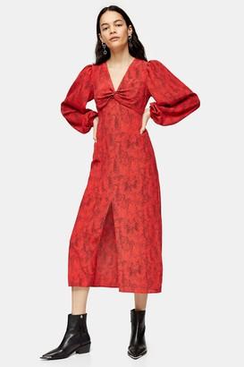 Topshop Womens Red Animal Print Godet Twist Front Midi Dress - Red