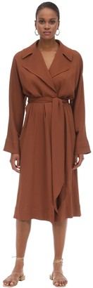 L'Autre Chose Belted Crepe Trench Coat