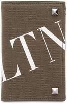 Valentino Logo Print Cotton Canvas Wallet