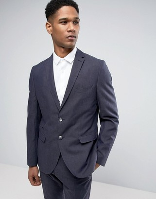 Selected Slim Suit Jacket in Linen Mix-Navy