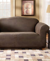 Sure Fit Stretch Faux Leather Separate Seat T-Cushion Loveseat Sofa Slipcover