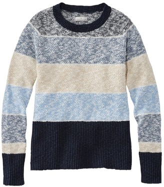 L.L. Bean L.L.Bean Women's Signature Cotton/Linen Ragg Crewneck Sweater, Stripe