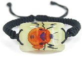 The Real Insect Co. Glow In The Dark Lucite Rectangle Twisted Band Bracelet w/ Genuine Flower Bug
