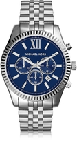 Michael Kors Lexington Silver Tone Stainless Steel Men's Chrono Watch