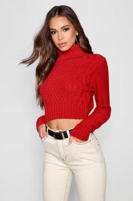 boohoo Tall Roll Neck Cable Knit Sweater